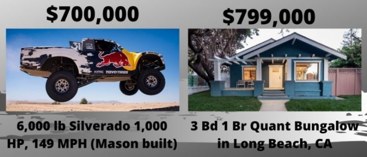 trophy truck compared to quant house in california. prices are outrageous