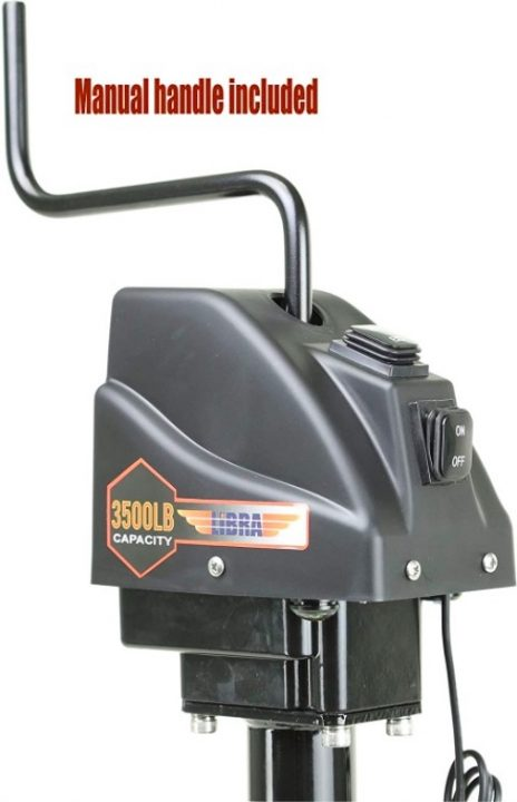 libra power trailer tongue jack with manual crank operation